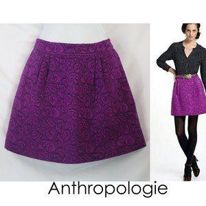 Anthro HD In Paris Swing Brocade Purple Skirt 00